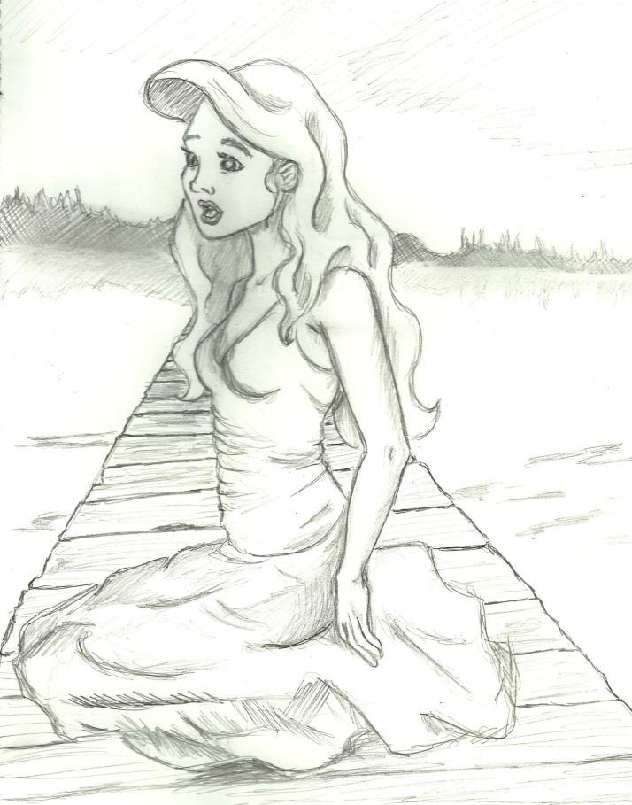 A fan art of Ariel in human form.