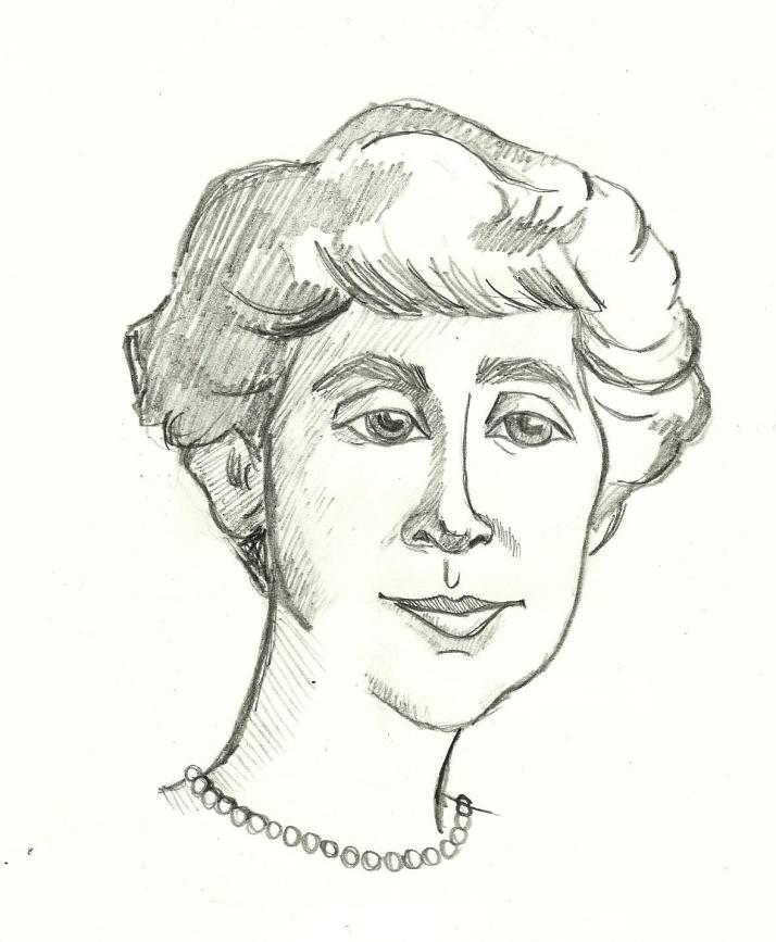 A caricature portrait of the first woman in US Congress, Jeannette Rankin.