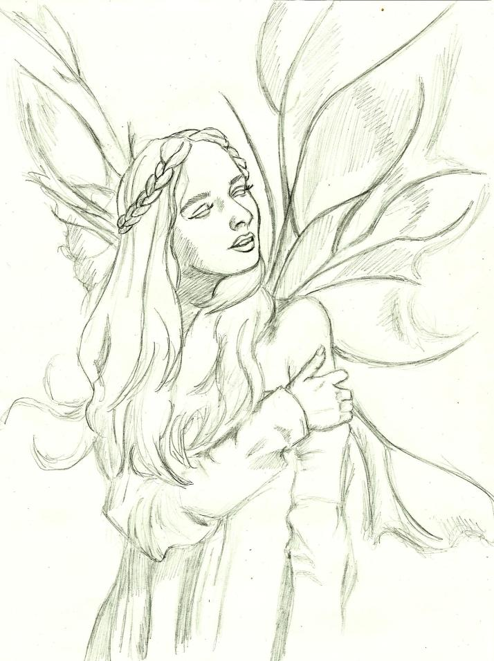 Winged fae enjoying the warmth of the sun on her face and the wind in her hair.