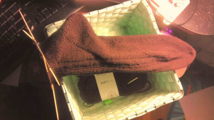 The first sock still in progress