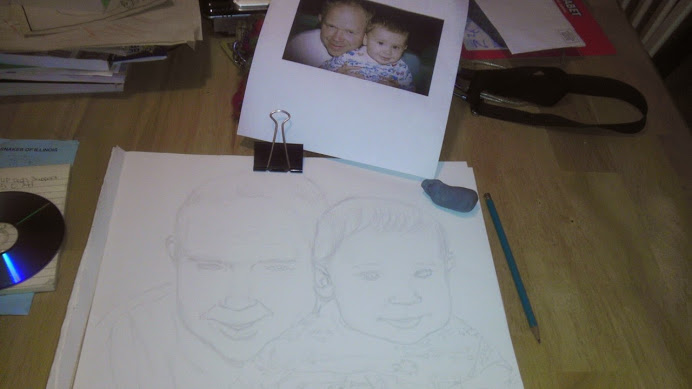 A sketch of a father and son along with the reference print used.