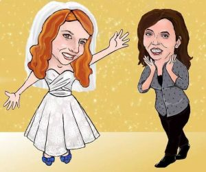 A caricature of a bride and her bridemaid at the fitting. :)