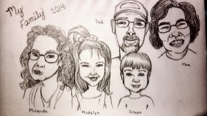 Family caricature for my daughter's school project.